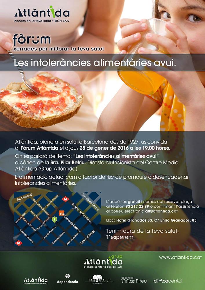 Cartell Fòrum Atlàntida 'Les intoleràncies alimentàries'