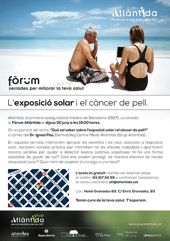 Cartell Fòrum Atlàntida 'L'exposició al sol i el càncer de pell'
